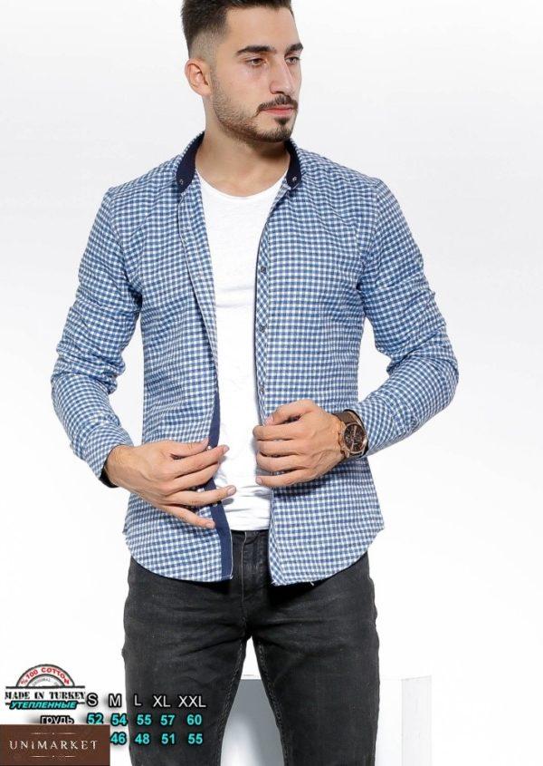 Приобрести темно синюю-голубую утепленную рубашку в клетку с цветными манжетами (размер 46-54) в интернете для мужчин
