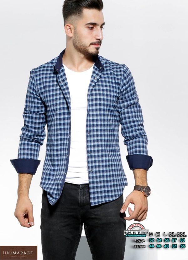 Заказать утепленную синюю рубашку мужскую в клетку с цветными манжетами (размер 46-54) недорого