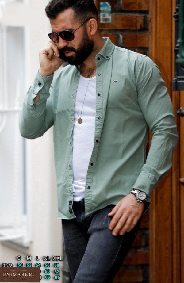 Приобрести цвета фисташка джинсовую рубашку на кнопках (размер 46-54) для мужчин по скидке