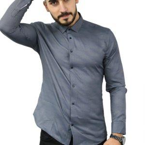 Заказать на новый год по скидке мужскую хлопковую рубашку в мелкий узор (размер 46-54) синего цвета