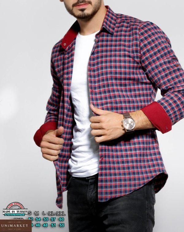 Заказать сине-красную утепленную рубашку в клетку с цветными манжетами (размер 46-54) для мужчин по скидке