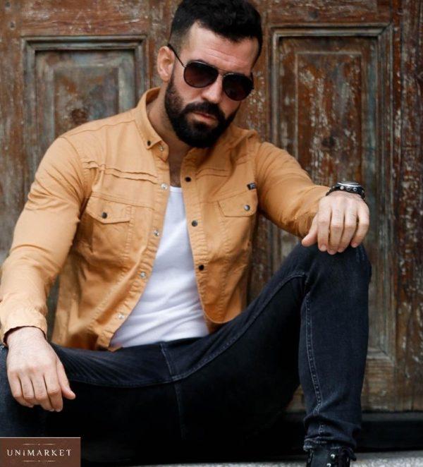 Приобрести песочную джинсовую рубашку на кнопках (размер 46-54) мужскую по низким ценам