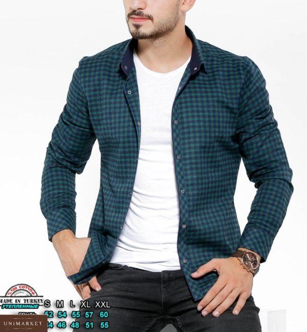 Приобрести зеленую утепленную рубашку для мужчин в клетку с цветными манжетами (размер 46-54) в Украине