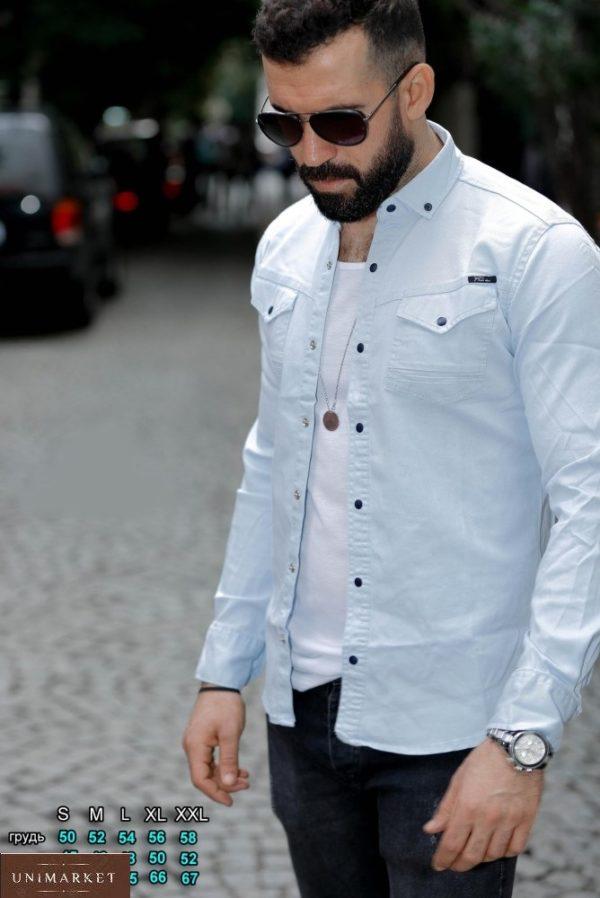 Купить мужскую джинсовую рубашку на кнопках (размер 46-54) небесного цвета по низким ценам