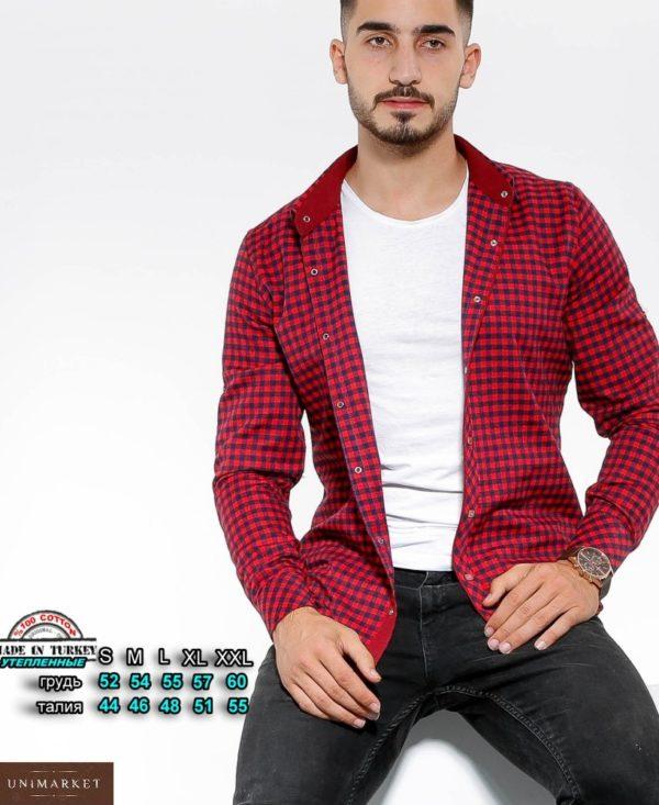 Купить красного цвета утепленную рубашку в клетку с цветными манжетами (размер 46-54) для мужчин по скидке