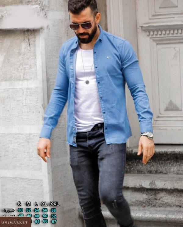 Заказать голубого цвета мужскую джинсовую рубашку на кнопках (размер 46-54) выгодно