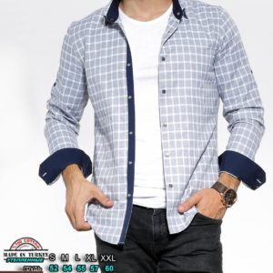 Заказать бело-голубую выгодно утепленную рубашку в клетку с цветными манжетами (размер 46-54) для мужчин
