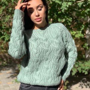 Купить на осень шерстяной свитер фисташка для женщин с узором недорого