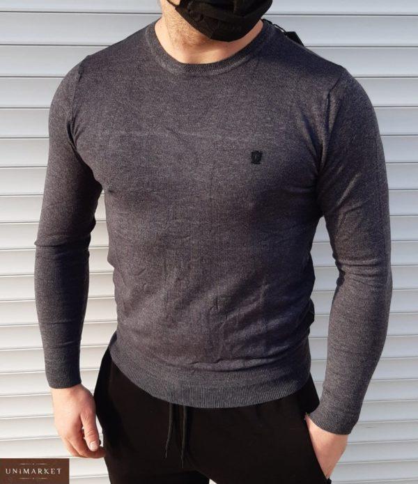 Купить серый мужской Мягкий свитер из микроакрила (размер 46-52) в интернете