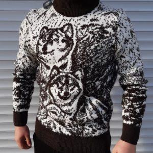 Купить черно-белый мужской Теплый шерстяной свитер с оленем/волком (размер 46-52) по скидке