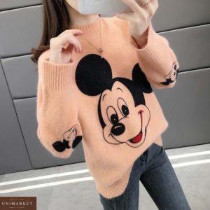 Приобрести женский свитер персиковый с принтом Микки Маус онлайн