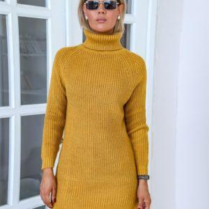 Приобрести горчица женский удлиненный свитер с высоким горлом (размер 42-48) онлайн