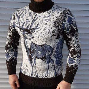 Приобрести зимний мужской Теплый шерстяной свитер с оленем/волком (размер 46-52) черно-белого цвета выгодно