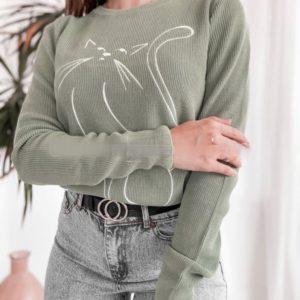 Купити оливка трикотажний светр з принтом кішка жіночий дешево