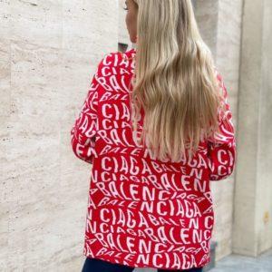 Купити червоний подовжений светр під горло з лого Balenciaga для жінок вигідно