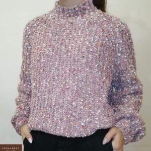 Заказать пудра женский свитер из велюра с цветными вкраплениями дешево на зиму
