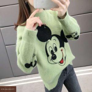 Заказать салатовый свитер для женщин с принтом Микки Маус недорого