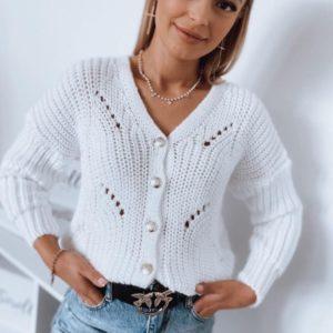 Приобрести женскую белую вязаную кофту с пуговицами онлайн