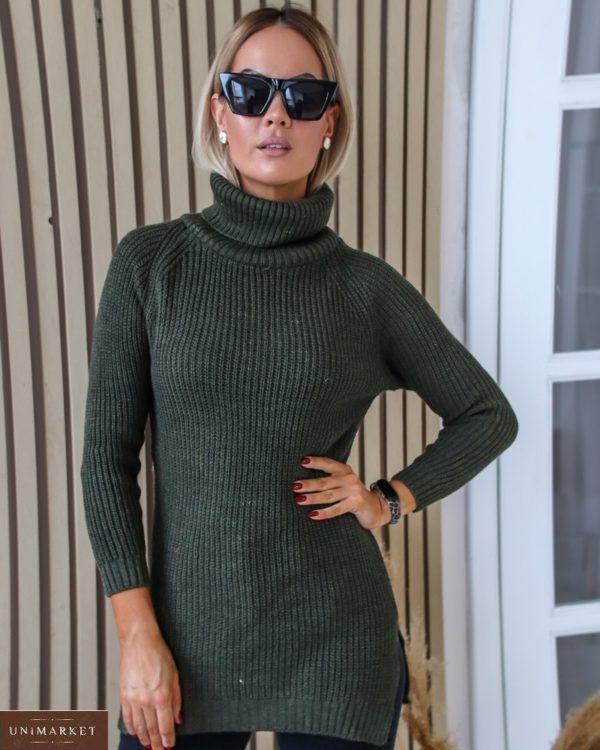 Заказать на подарок удлиненный свитер с высоким горлом (размер 42-48) цвета хаки для женщин