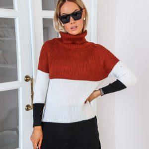 Заказать цвета терракот свитер трехцветный с высоким горлом (размер 42-48) для женщин выгодно