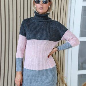Приобрести свитер трехцветный с высоким горлом (размер 42-48) темно-серого цвета для женщин в Украине на осень