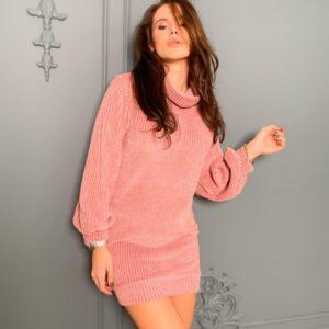 Заказать женскую вязаную тунику-платье с длинным рукавом цвета пудра недорого