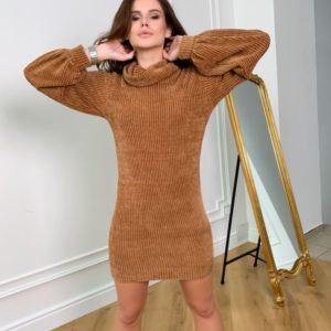 Купить цвета горчица женскую вязаную тунику-платье с длинным рукавом в интернете