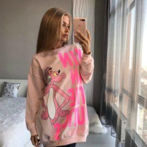 Заказать цвета пудра женскую спортивную тунику с розовой пантерой по низким ценам