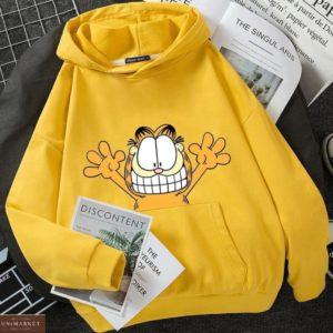Заказать желтое худи для женщин oversize на флисе с принтом кот Гарфилд недорого