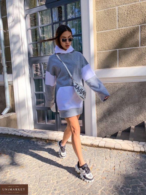 Купить серое женское платье-худи с начесом с белыми вставками недорого