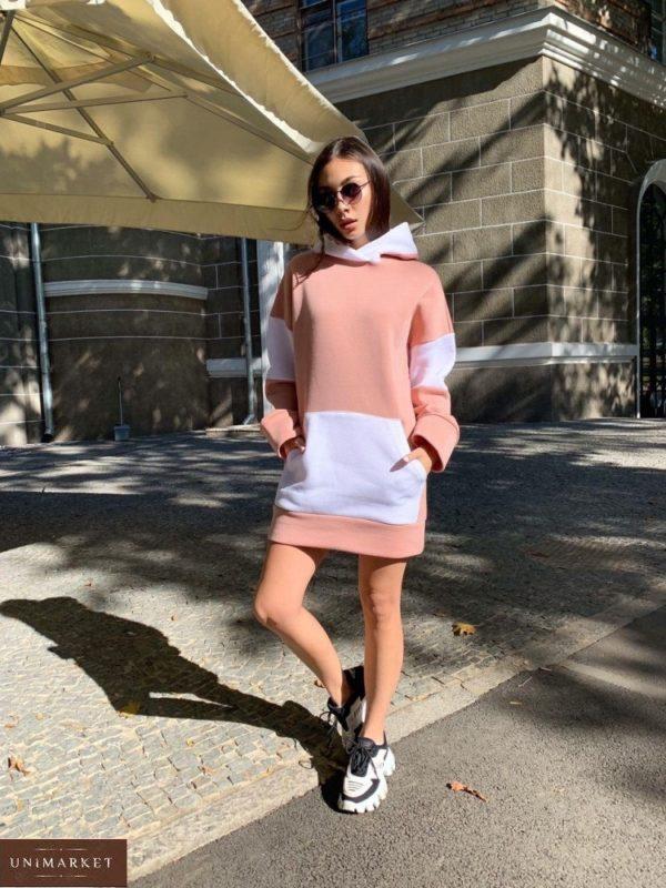 Заказать цвета капучино женское платье-худи с начесом с белыми вставками онлайн