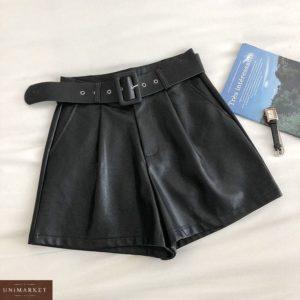 Заказать черные шорты женские из эко кожи с ремнем недорого