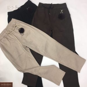 Заказать беж, коричневые, серые, черные штаны из шерсти с брелком в комплектештаны из шерсти с брелком в комплекте для женщин онлайн