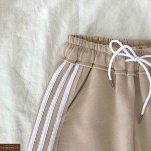 Заказать беж женские спортивные штаны на флисе с лампасами недорого