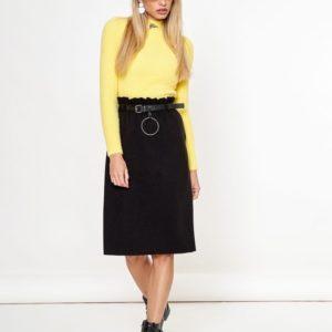 Приобрести дешево черную трикотажную юбку миди с поясом женскую