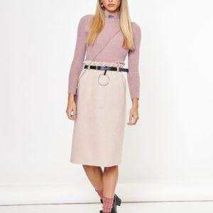 Заказать беж трикотажную женскую юбку миди с поясом онлайн