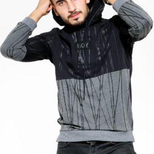 Купить мужской батник двухцветный с надписью Boy серо-черного цвета (размер 48-54) по низким ценам