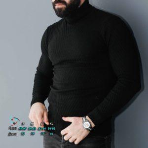 Заказать мужской Вязаный свитер черного цвета под шею (размер 48-54) недорого