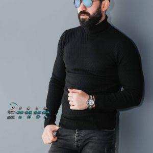 Купить черный Вязаный свитер для мужчин под шею (размер 48-54) недорого