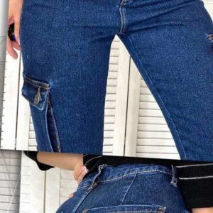 Купить женские стрейчевые синие джинсы Мом с боковыми карманами недорого