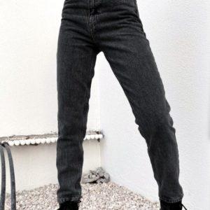 Заказать женские серые джинсы Mom на высокой посадке недорого