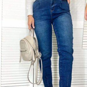 Приобрести синего цвета женские джинсы-слоучи с боковыми карманами на осень по скидке