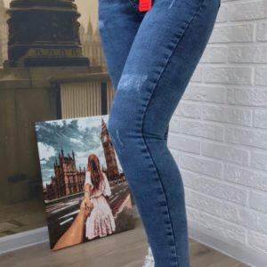 Купить женские стрейчевые джинсы скинни с царапками в интернете синие