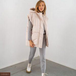 Приобрести пудра беж утеплённый водонепроницаемый жилет с поясом и карманами для женщин в интернете