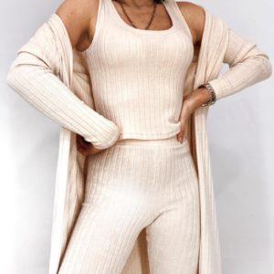 Купить бежевый женский костюм из ангоры рубчик: кардиган, майка и штаны онлайн