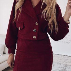Заказать женский замшевый костюм в стиле zara марсала с юбкой выгодно