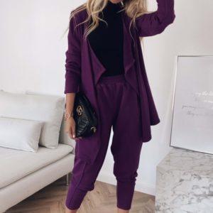 Заказать темно-лиловый трикотажный женский брючный костюм с кардиганом недорого