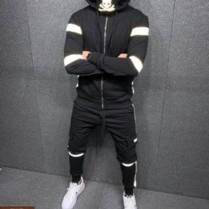 Купить черный мужской спортивный теплый костюм со светоотражающими вставками (размер 46-52) недорого