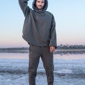 Приобрести серый мужской спортивный костюм с худи оверсайз (размер 46-52) в интернете
