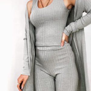 Купить серого цвета костюм из ангоры рубчик: кардиган, майка и штаны для женщин в интернете